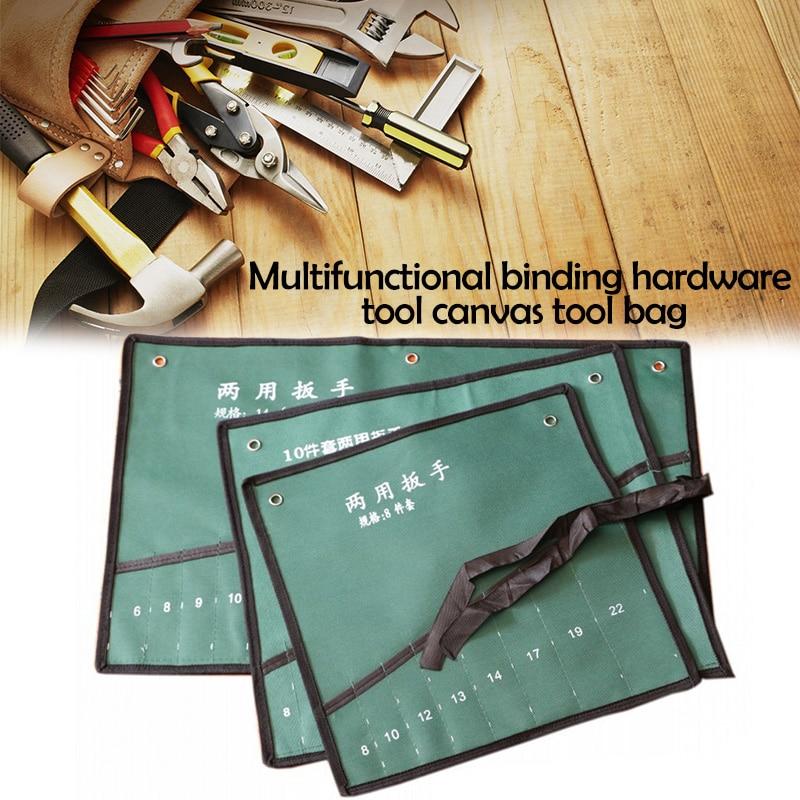 Bundled Canvas Tool Bag Pockets Double Opening Offset Ring Spanner Kit Case Tool Bag Spanner Wrench Roll Up Storage Bag