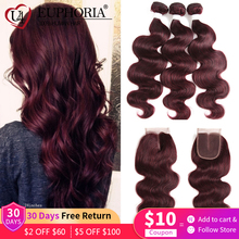 99J Burgundy Body Wave Bundles With Closure Blonde 27 Brazilian Remy Human Hair 3 Bundles With 4x4 Lace Closure Frontal EUPHORIA