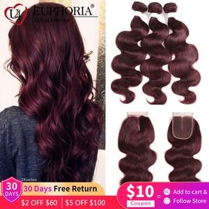 Image 1 - 99J Burgundy Body Wave Bundles With Closure Blonde 27 Brazilian Remy Human Hair 3 Bundles With 4x4 Lace Closure Frontal EUPHORIA