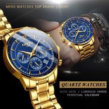 Часы наручные NIBOSI Мужские кварцевые, Роскошные водонепроницаемые в деловом стиле, с хронографом, из нержавеющей стали
