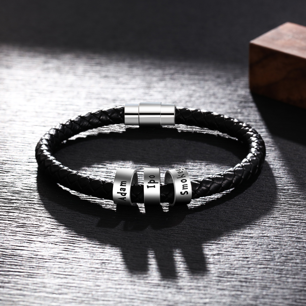 Personalized Mens Leather Bracelet with 3 Custom Beads Braid Black Name Charm Bracelet with Family Names Armband pulsera hombre
