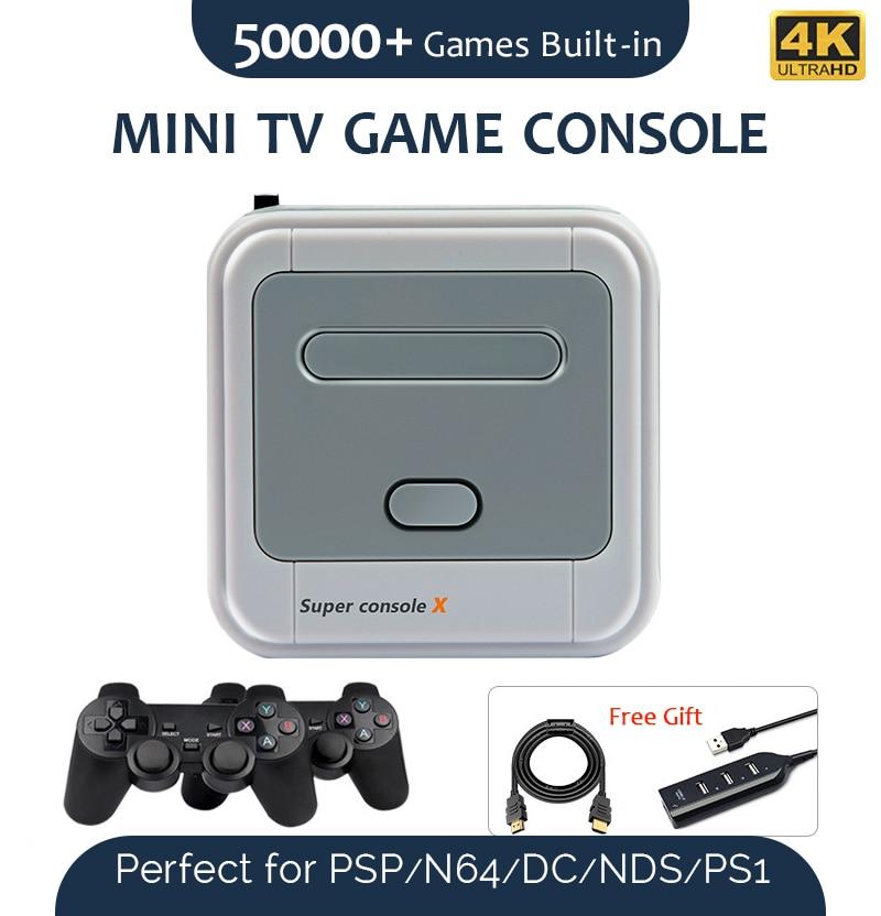 Супер консоль X портативная игровая консоль Встроенная 51000 + игровая 4K выход Поддержка Wi-Fi Классическая Ретро игровая консоль для PSP N64 DC