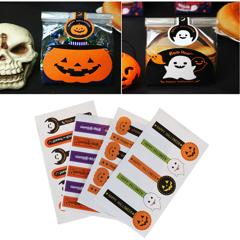 10 sheets=50/60pcs little stickers Happy Halloween Seal Stickers Labels Pumpkin Ghost Candy Box Stickers Bread Snack Seal Tags image
