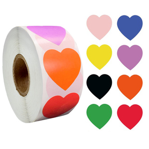 500 Pcs/roll Chroma Heart Labels Stickers Color Code Dot Labels Stickers 1 Inch Red,blue,pink,black,custom Stickers Stationery