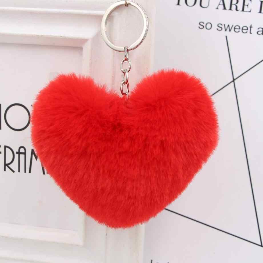 10 cm bonito fofo coração chaveiros pom poms das mulheres falso rex coelho pele chaveiro menina saco pendurar carro chaveiro jóias acessórios