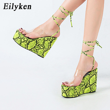 Eilyken Women Snake Pattern Platform Wedges High Heels Gladiator Sandal
