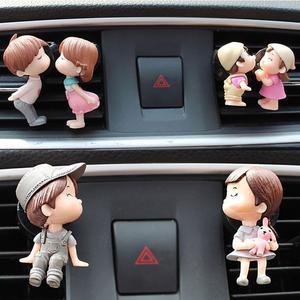 Lovely Couple Girl Boy Figurines Perfume Clip Car Air Vent Freshener Perfume Clip Figurine Miniatures Air Diffuser Car Decor