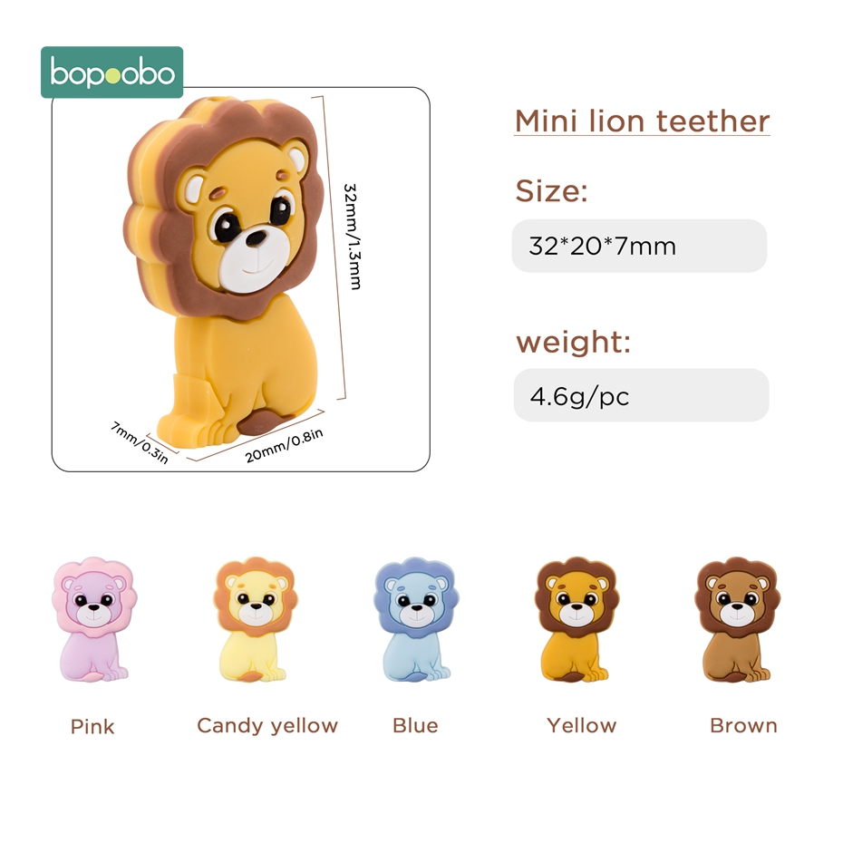 Bopoobo 3pc Silicone Teether Food Grade Silicone Mini Lion Beads Bpa Free Baby Teething For DIY Pacifier Pendant Rodents Beads