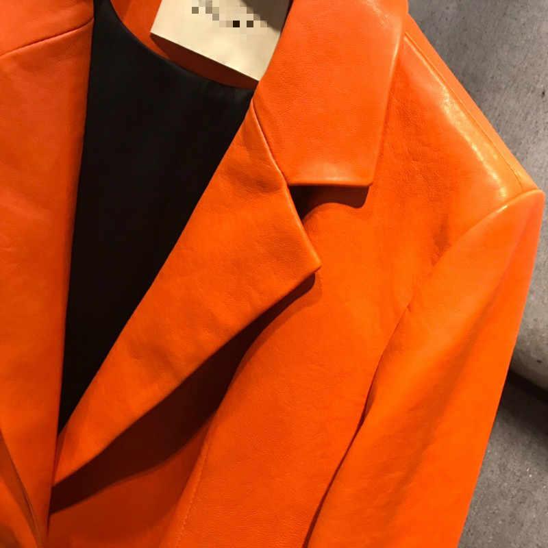 RR インポートシープスキンブレザー女性のファッション本革ジャケット女性のエレガントなポケットオレンジスーツ女性 HM