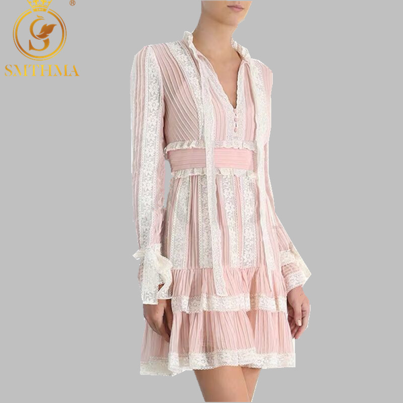 SMTHMA 2019 Autumn And Winter Fashion Pink Lace Patchwork Dress For Women V Neck Flare Sleeve High Waist Runway Dresses