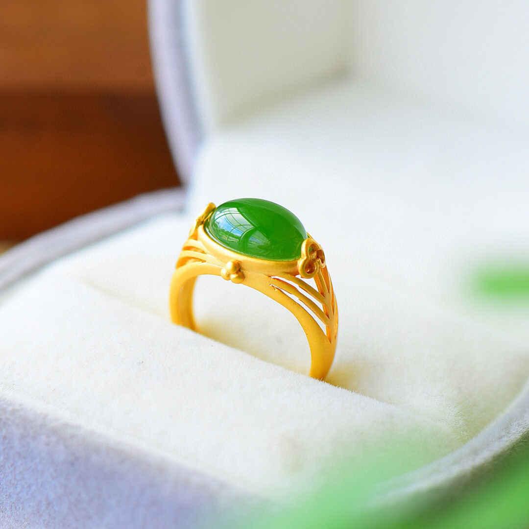 S925 стерлингового серебра, инкрустированные сорта хотанской (Hetian) нефрита зеленый нефрит ювелирные изделия кольцо ретро Стиль дизайн Увлажняющий зеленого цвета с открытым носом древних Стиль Серебряный Ri