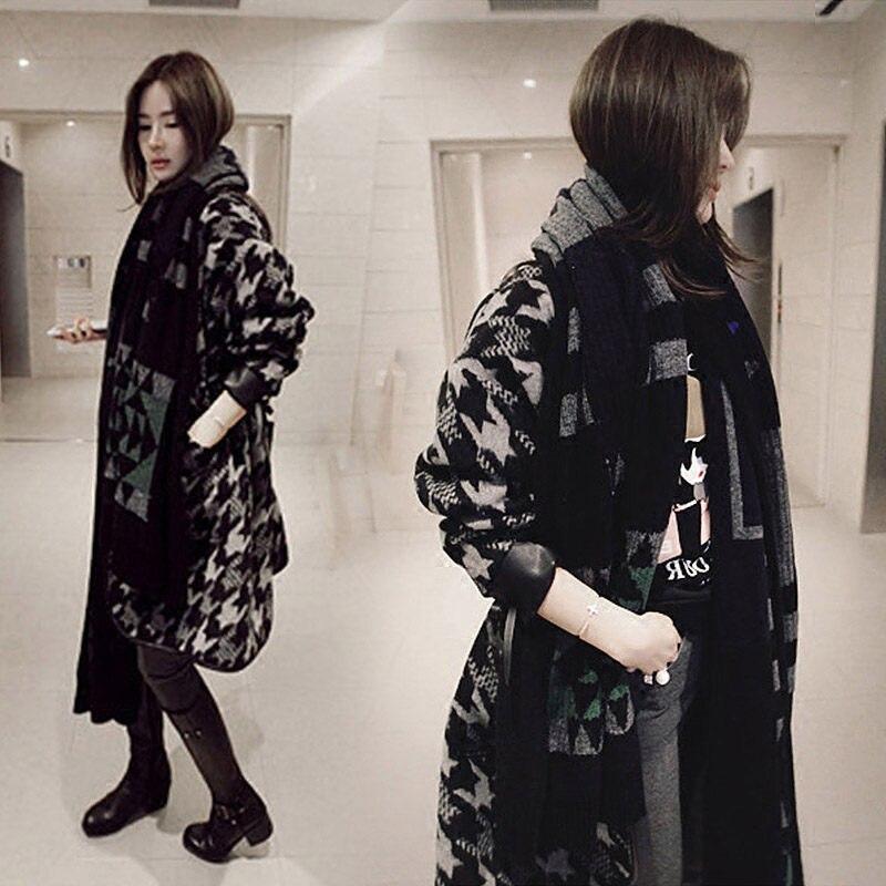 New Chic Korean Woolen Coat Female Houndstooth Long Retro Lattice Blend Jacket Winter Fashion Flannel Loose Casual Outwear f1555 - 2