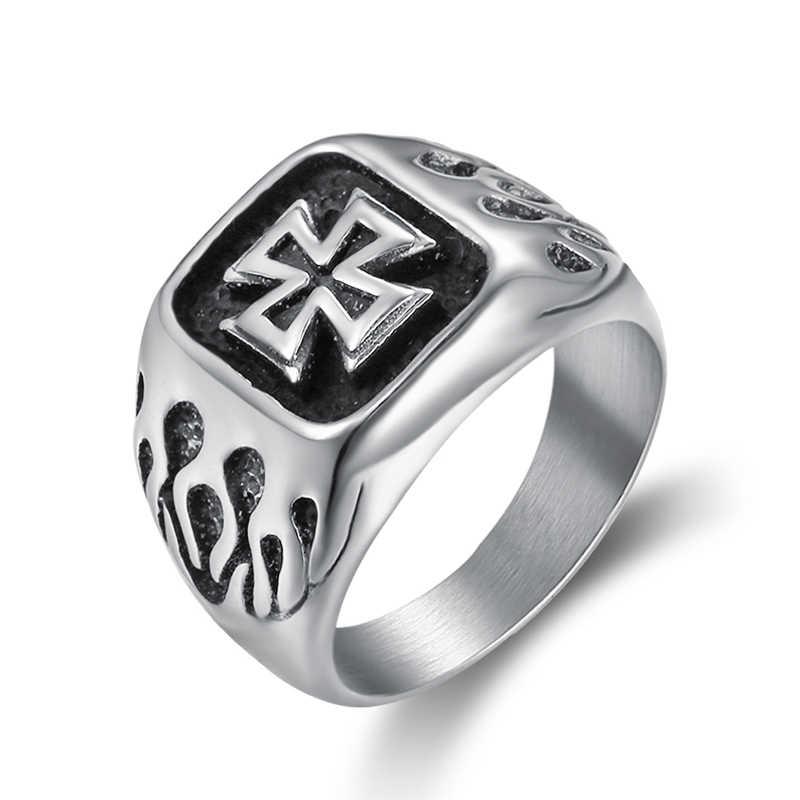 Cruz cavaleiros templários homens anel de sinal selo prata punk rock hip aço inoxidável anéis masculinos biker banda casamento vintage dcr009
