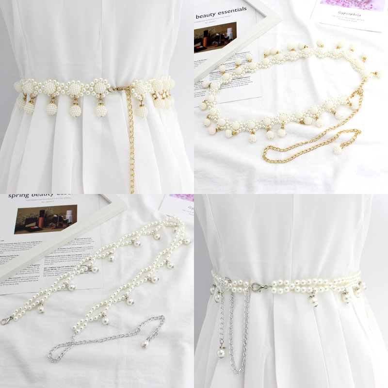 Dress beaded hook women's waist chain Korean version of sweet fashion pearl decorative metal belt wedding dress belt