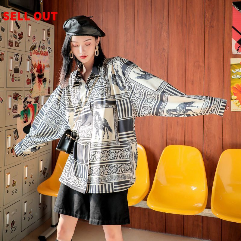 [LANMREM] 2019 Autumn And Winter New Products Fashion Retro Versatile Lapel Long Sleeves Wear Printed Shirt Women PA712