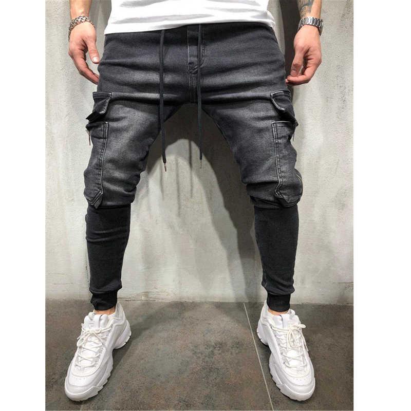 Ropa de hombre Hip Hop Sweatpants Skinny motocicleta pantalones de mezclilla cremallera diseñador negro Jeans hombres Casual hombres pantalones vaqueros