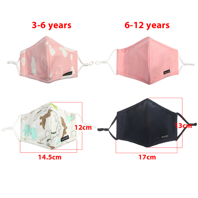 1PC Children PM2.5 Mouth Mask Anti-Dust 4 layer Washable Breathable Cotton Face Protective Mask Respiratory Care 3-12 Years Kids 5