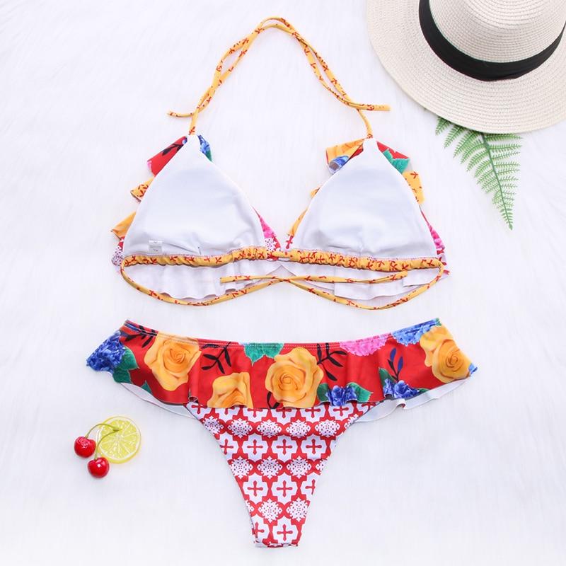 Hd04238661f3d4a6882dc4a9b2d591fa2a Miyouj Ruffle Bikini Off Shoulder Floral Swimsuit Bandage Bow Swimwear Push Up Biquini Feminino Bathing Suit Women Bikini Set