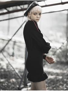 Image 3 - PUNK RAVE Girls Punk Style Aliens Take Me Home Printed Long Sleeved Flounced Wrap Dress Women Casual Black Dress