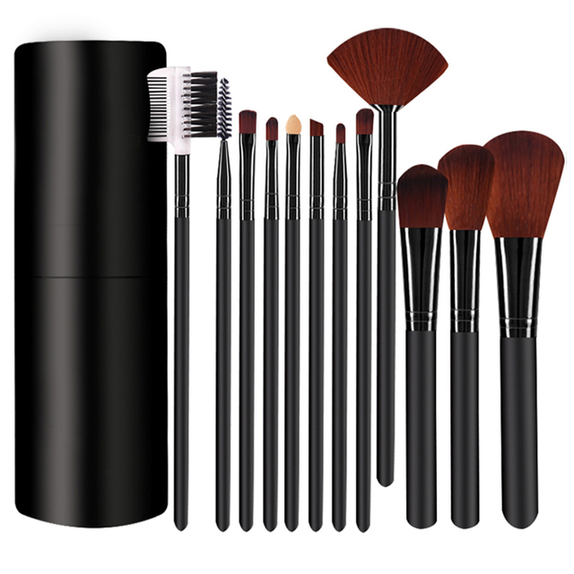 12Pcs/Set Professional Makeup Brushes Tool Eye Shadow Foundation Eyebrow Lip Makeup Brush cosmetics Leather Cup Holder Case Kit 5