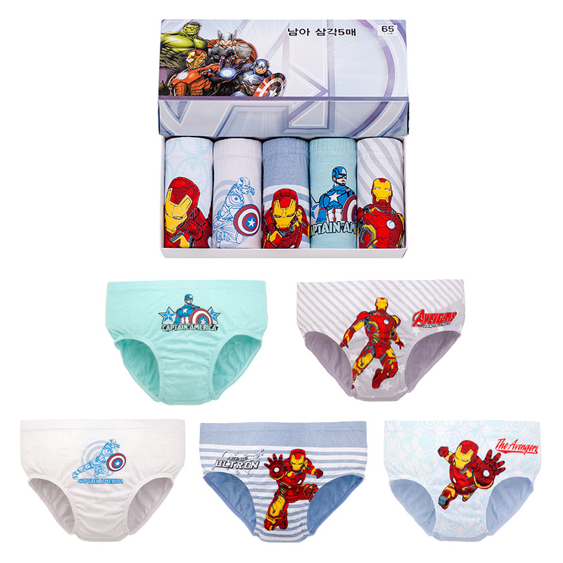 Мультяшные Мстители Железный человек Капитан Америка нижнее белье для мальчиков хлопковые дышащие трусы супергероя для детей мальчиков