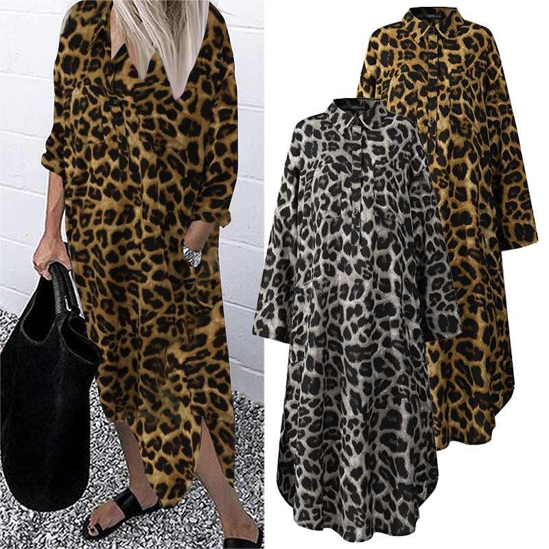 Women's Leopard Shirt Dress ZANZEA Spring Stylish PrintSundress Casual Long Sleeve Midi Vestidos Female Button Robe Plus Size