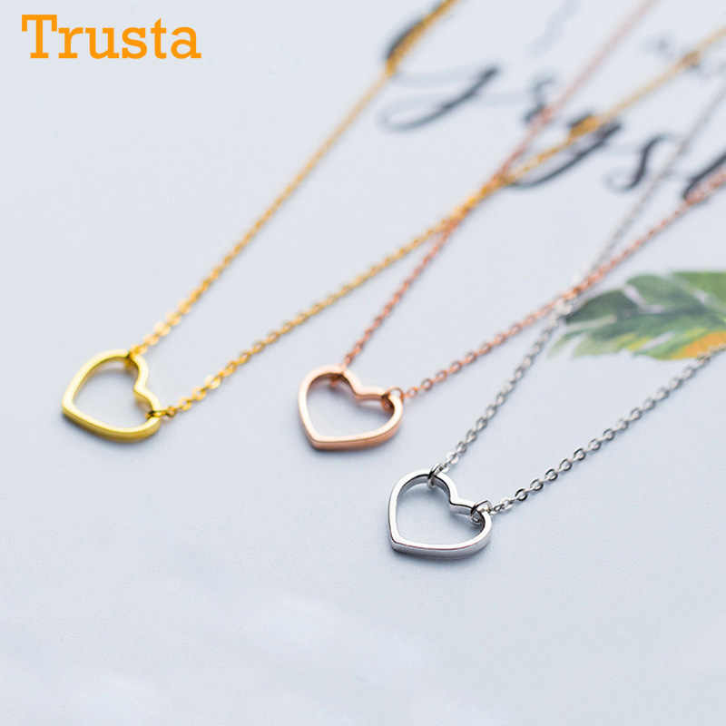 Trusta 2018 Women's Fashion 100% 925 Sterling Silver Jewelry Hollow Heart Pendant Short 37cm Necklace Cute Gift Girls Lady DS464