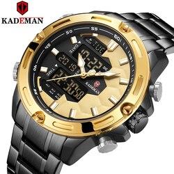 Nova marca de luxo superior kademan masculino esportes relógios design moda multifunções led duplo relógio quartzo aço completo à prova dkágua k9070