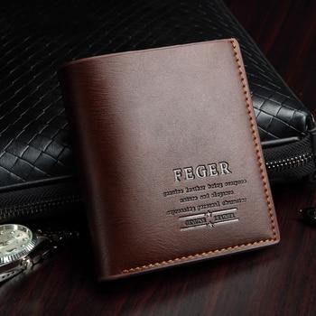 Men Split Leather Wallet Vintage Male Holder Luxury Short Slim Male Purses Brand Money Clip Credit Card Dollar Bag fashion brown