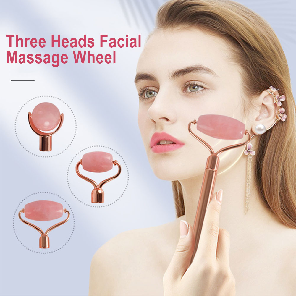 Three Heads Facial Massage Wheel With Handle Artificial Jade Skin-friendly Handheld Neck Massage Wheel Replaceable Rolling