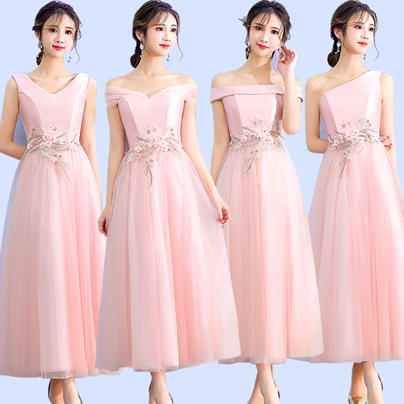 Embroidery Vintage Bridesmaid Dress Pink Guest Wedding Party Dress Elegant Off The Shoulder Tea-Length Plus Size Prom Vestidos