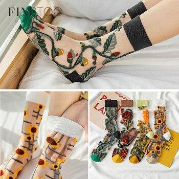 FINETOO calcetines largos de moda de verano, medias finas de rejilla, calcetines para mujeres y niñas, Harajuku Streetwear, calcetines con flores transparentes de malla