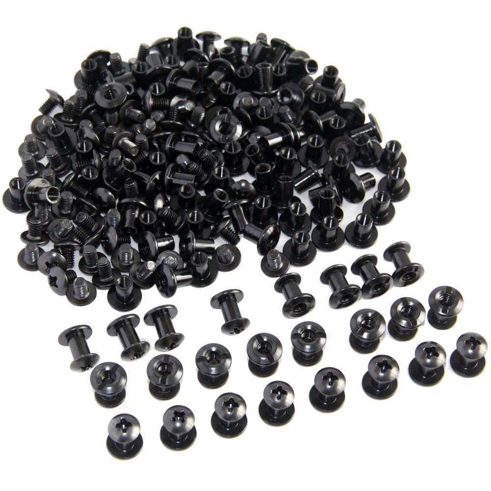 100pcs Black Tactical Slotted Posts And Cross Head Screw DIY Kydex Leather Holster Sheath Chicago Screws