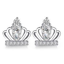 Женские серьги гвоздики из серебра 925 пробы с короной