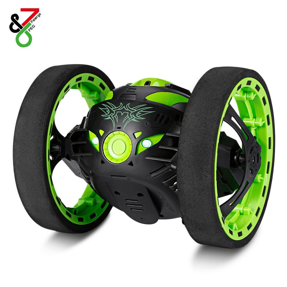 Gran oferta Mini coches rebote coche RC con ruedas flexibles rotación luz LED Control remoto Robot coche juguetes regalos para niños