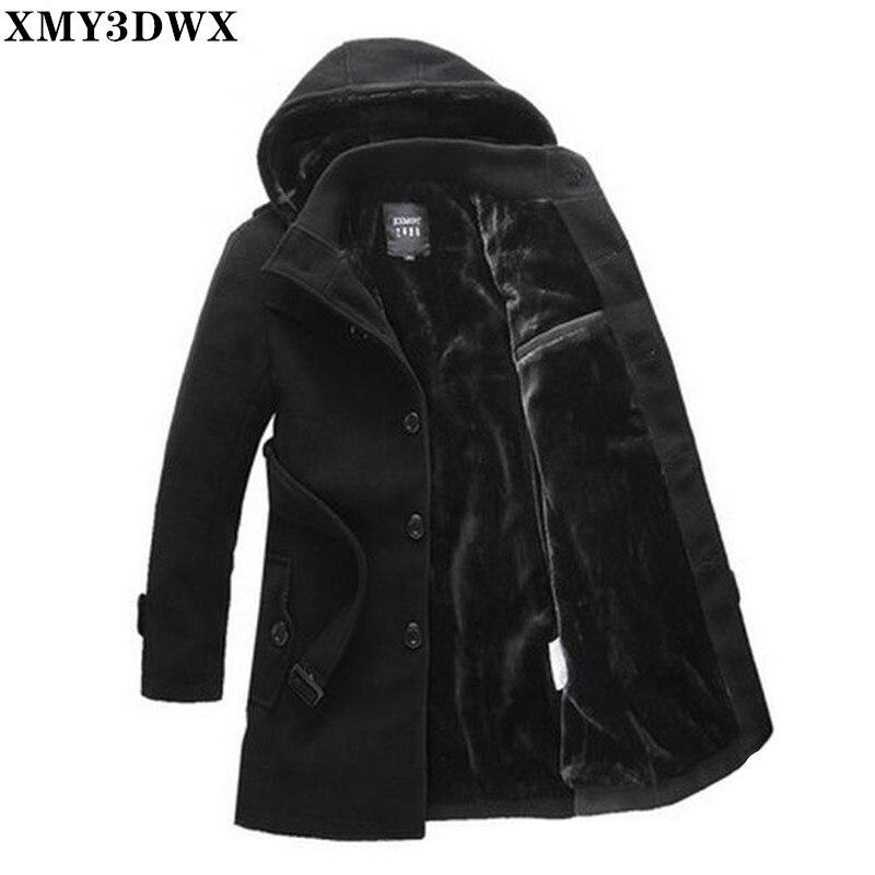 2019 Winter New Mens Fashion Long Sleeve Hooded Thick Coats Casual Men Warm outerwear fleece   trench   coats Male Windbreaker