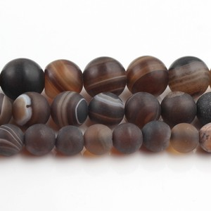 4/6/8/10/12mm Natural Matte Coffee Striated Agates Stone Round Loose Beads For Jewellery Making Bracelet Necklace 15''(China)