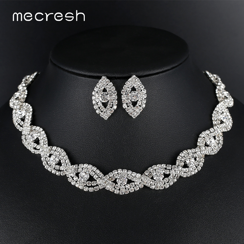 Nuevo 1 Fila Anillo Gargantilla Collar de Plata Diamante Cristal Fiesta Bisutería