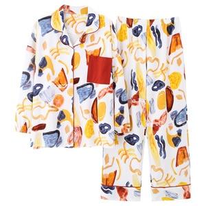 Image 4 - BZEL yeni pamuk Pijama seti kadın kaliteli Pijama renkli ev giyim Pijama gevşek giyim Pijama ev takım elbise artı boyutu M XXXL