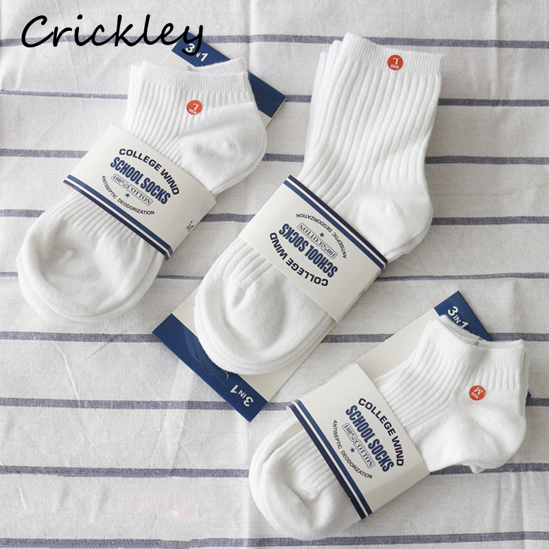3Pairs/Lot High Quality Combed Cotton Solid White Children School Socks For Girls Boys Unisex Comfortable Breathable 1-12Y Sock