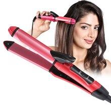 JINDING 2 в 1 выпрямитель для волос бигуди керамический плоский утюжок для завивки волос прямые и завитые Инструменты для укладки волос 110-220 В