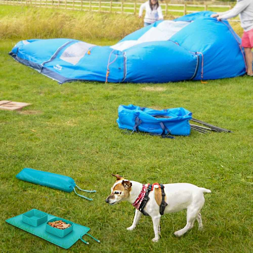 Nova Dobrável Tigela Cães Gatos Animais de Estimação Alimentos Recipientes De Silicone Duplo Tigelas Cão Alimentador Fácil Limpeza de Alimentação Do Cão Portátil para Viagens