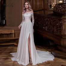 Optcely Real Photo Chiffon Off-the-spalla Maniche Lunghe Abiti Da Sposa 2019 Arco Della Fessura Del Merletto Appliques Bordare Sweep treno Abiti(China)