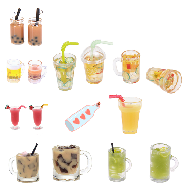 1/12 Dollhouse Miniature Accessories Mini Resin Fruit Tea Cup Milk Tea Simulation Miniature Drinks Model Toy Doll Home Decora
