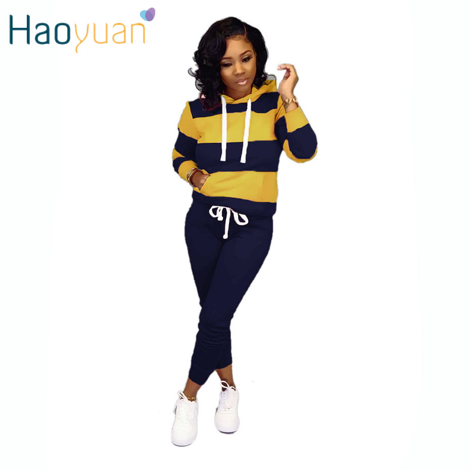 HAOYUAN Casual Striped Two Piece Set Long Sleeve Hoodies + Lace Up Pants Suit Women Clothing Fall Outfits 2 Piece Matching Sets