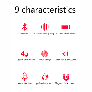Image 5 - New A6X TWS Wireless Earphones Bluetooth 5.0 Automatic Pair Fingerprint Touch HD Stereo Headsets Noise Reduction for iOS&Android