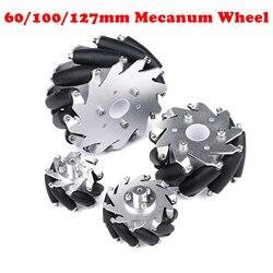 4 pièces/ensemble 60mm 100mm 127mm alliage d'aluminium métal Mecanum roue omnidirectionnelle pour Arduino framboise Pi bricolage voiture robotique