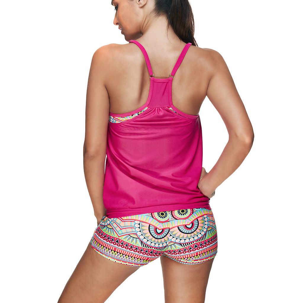 Stil Bayanlar Artı Boyutu Tankini Iki Parçalı Takım Elbise Mayo Kadın Mayo Yastıklı Brezilya mayo Çiçek Alt Spor Kadın # E