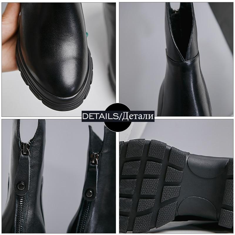WETKISS Kuh Leder Stiefeletten Frauen Keile Booties Plattform Schuhe Weibliche Runde Kappe Keile Zip Schuhe Damen Winter 2020 Neue - 5