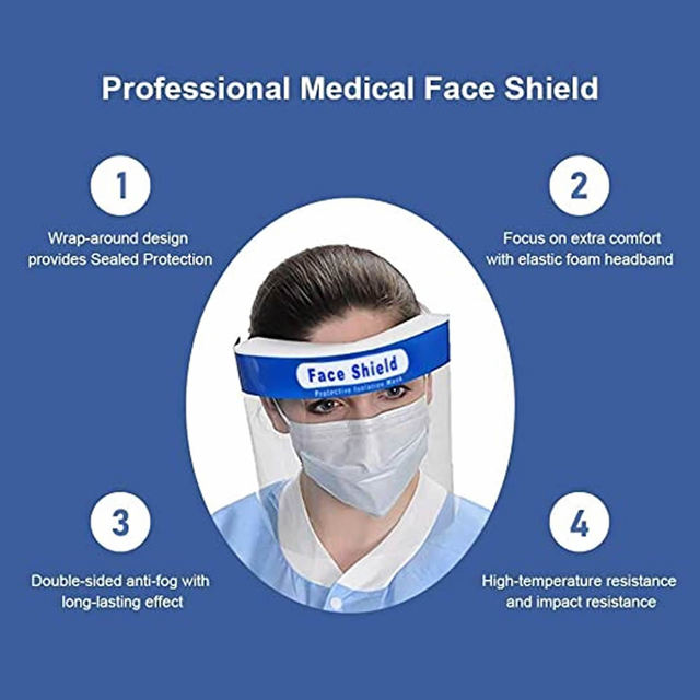 50pcs/lot Face Shield Screen Mask Safety Clear Grinding Visor Eye Protection Anti-fog Protective Prevent Saliva Splash Mask 3